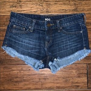 Dark denim low rise shorts